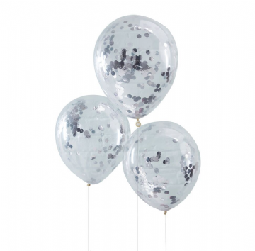 Silver Confetti Balloons - pack of 5